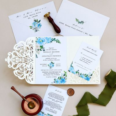 Island Paradise Aqua Blue and White Laser Cut Wedding Invites PWIL164
