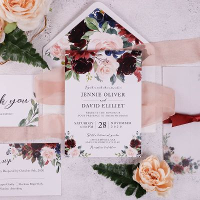 Burgundy Navy Floral Rustic Wedding Invitation with Floral Vellum Wrap PWIM024