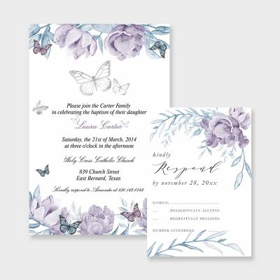 Quinceanera Invitation, Purple Blue Flowers, Butterfly, Mis Quince Anos, 15th Birthday PWIQ017