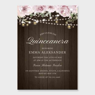 Quinceanera Rustic Invitation, Dusty Pink Flowers, Mason Jar, Mis Quince Anos, 15th Birthday PWIQ018