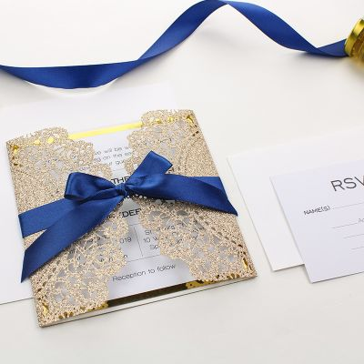 Elegant Rose Gold Glittery Laser Cut Wrap with Navy Blue Ribbon and Gold Glittery Mirror Paper Backer PWIL027