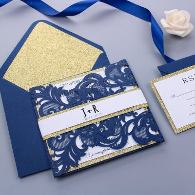 Navy Blue Shimmer Laser Cut Wedding Invitation With Gold Glittery Liner PWIL030