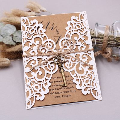 Rustic Ivory Shimmer Laser Cut Invitation with Classic Craft Inner Paper PWIL033