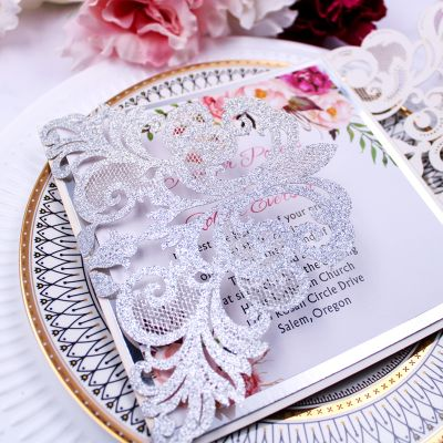 Elegant Silver Glittery Laser Cut Wedding Invite with Floral Inspired Insert and Mirror Paper PWIL036