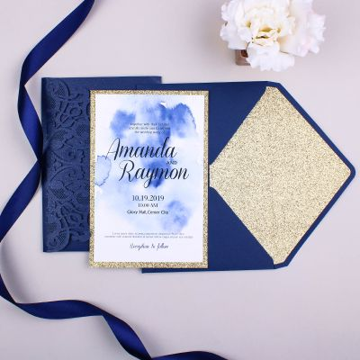 Navy Shimmer Laser Cut Pocket Fold Wedding Invite with Watercolor Insert and Rose Gold Glittery Backer PWIL037