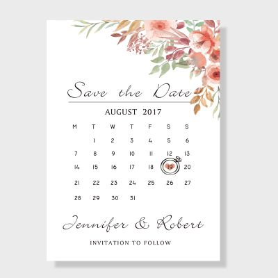 Bohemian Blush Pink Floral Wedding Save the Date Cards PWIS001