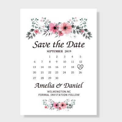 Romantic Peach Flower Save the Date Wedding Cards PWIS002
