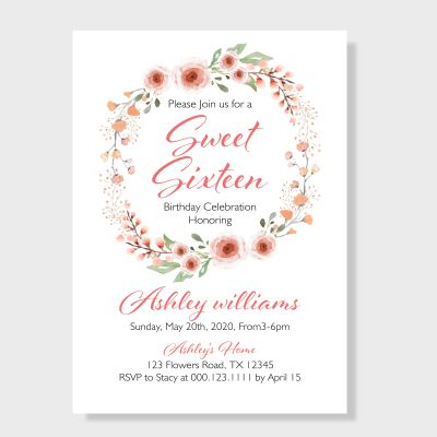 Romantic Peach Flower wreath Inspired Sweet Sixteen Invitation PWIT001