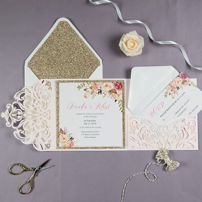 graceful gold blush shimmer laser cut tri-fold wrap with pocket and fragrant floral wedding invitation PWIL051