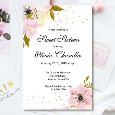 Elegant Peach Floral Sweet Sixteen Invitation PWIT002