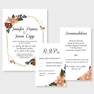 geometric blooms florals and geometric pattern wedding invitation PWIF015