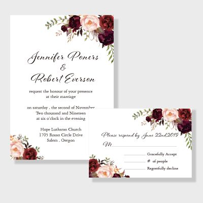 Elegant Burgundy And Blush Floral Inspired Wedding Invitation PWIF016