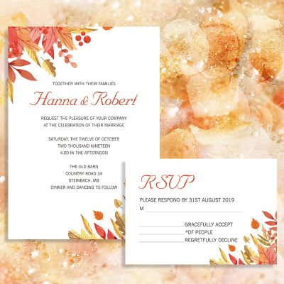 Rustic Fall Leaves Themed Wedding Invites PWIF017