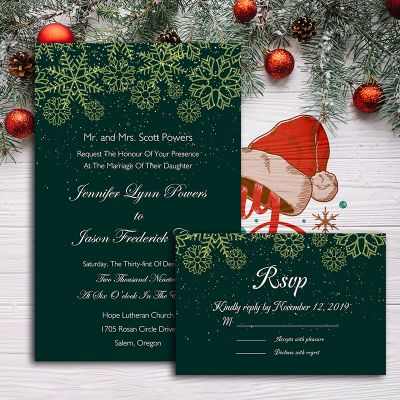 Crystal Snowflakes Magical Winter Wedding Invitation PWIF018