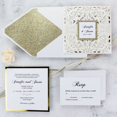 Luxury Ivory Laser Cut Gold Mirror Glitter Wedding Invitations PWIL069