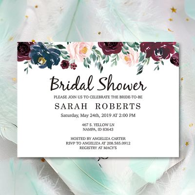 Burgundy Floral Bridemaid Invitation Bridal Shower Invite PWIB002