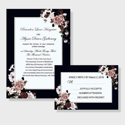 Vintage Colored Border With Victorian Inspired Mauve Floral Invitation PWIF022
