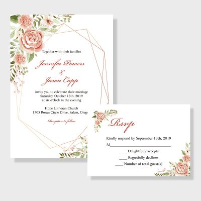 Geometric Blooms-pink Florals And Geometric Pattern Wedding Invitation PWIF023