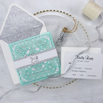 Tiffany Blue Swirl Laser Cut Wedding Invitation Kits Turquoise and Silver Glitter Invitation Suite PWIL062