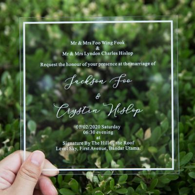 Minimalism Script Clear Wedding Invitations PWIA003