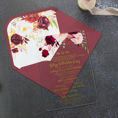 Acrylic Floral Wedding Invitation with Gold Foil Boho Clear Wedding Invitations PWIA004