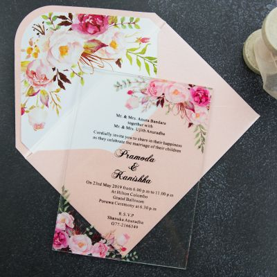 Acrylic Pink Floral Wedding Invitation Simplicity Clear Wedding Invitations PWIA005