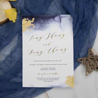Modern Foil Gold Ocean Invitation Cards With Navy Blue Envelope PWIG002