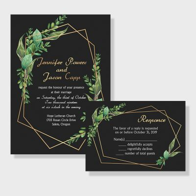 Fairytale Leaves Geometric Wedding Invitations PWIF024
