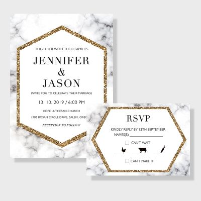 Gold Marble Geometric Modern Wedding Invitations PWIF027