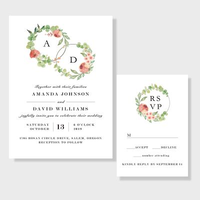 Leafy Floral Hoops Elegant Wedding Invitation PWIF028