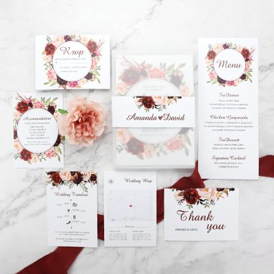 Burgundy Floral Boho Wedding Invitation Suite PWIM001