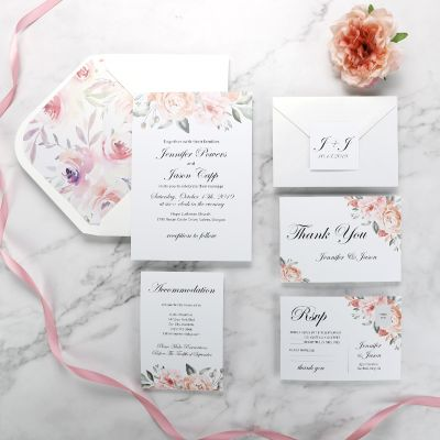 Elegant Spring Blush Floral Wedding Invitation Set PWIM003