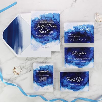 Blue Ocean Watercolor Splendor Wedding Invitation Set PWIM004