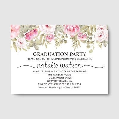 Graduation Party Invitation, High School Graduation, Class of 2019, Open House Invitation Floral Invite Card PWIU004