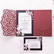 Delicate Burgundy Shimmer Rose Pattern Laser Cut Wedding Invite With Pocket And Floral Inspired Insert Card PWIL017