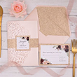 Blush Shimmer Rose Pattern Laser Cut Wrap With Burgundy Floral Inspired Wedding Invitation And Rose Gold Glittery Belly Band PWIL032