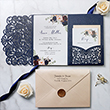 Boho Navy Blue Elegance Laser Cut Wedding Invitations PWIL085