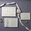 Graceful Ivory And Silver Laser Cut Wedding Invitation PWIL089